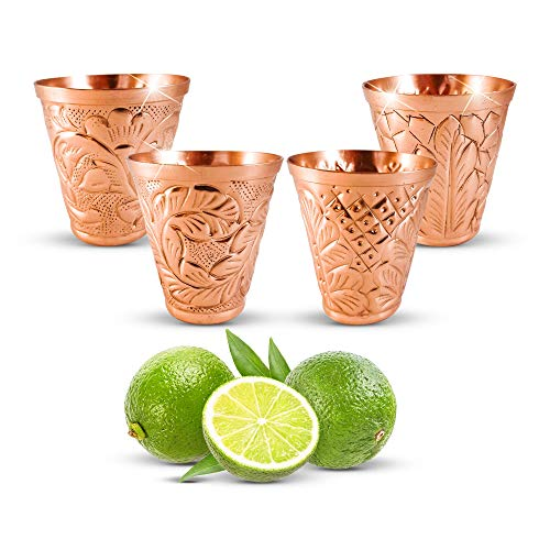 Copper Collection - Pure Copper Shot Glass Collection Set of 4 (2 oz) - Custom Embossed Barware for Moscow Mules, Cocktails & Shooters - Kamojo Gift Set of 4