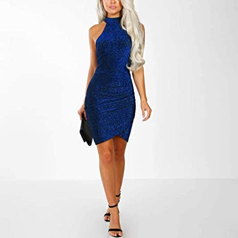 Voicry Frauen Sparkly Off Shouder Off Shouder Minikleid Abend Partykleid: Odzież