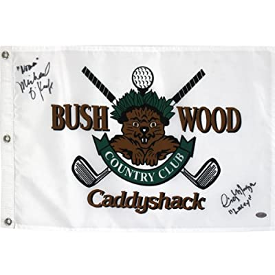 """PGA Caddyshack Michael O'Keefe Dual Signed Golf Pin Flag with """"Lacey, Noonan"""" Inscription"""
