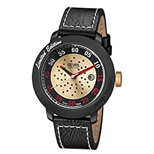 Gevril Men's 'Alberto Ascari' Swiss Automatic Stainless Steel and Leather Casual Watch, Color:Black (Model: 1102)