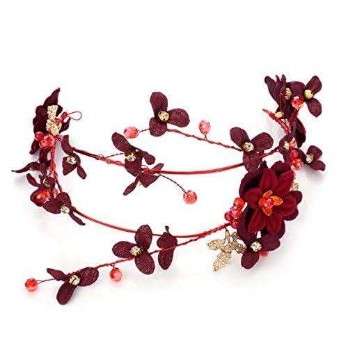 KPHY Mariée Fleurs Rouges Bijoux Coiffe Robe Toast De Vêtements De Fleurs Bande De Cheveux