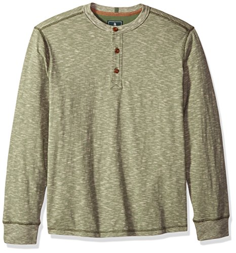 G.H. Bass & Co. Men's Carbon Long Sleeve Jersey Henley Shirt, Bronze/Green Heather, 2X-Large (Jersey Button Down Embroidered)