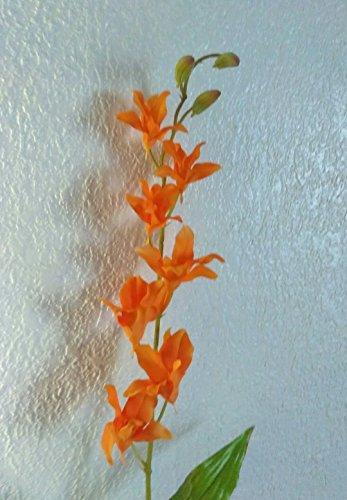 Artificial Fake Flowers Dendrobium Slik orchid stems Slik floral flower arrangements - orange Dendrobium Orchid Centerpieces