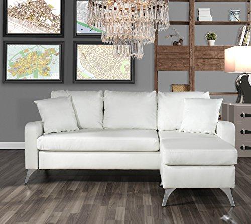 Divano Roma Furniture Bonded Leather Sectional Sofa - Small