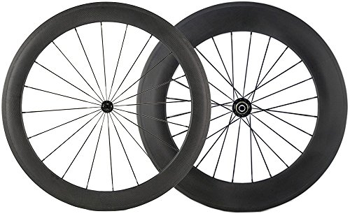 Sunrise Bike 1 pair of Front 60mm Rear 88mm Carbon Wheelset 700c Clincher Wheel Cycling Road (Rear Clincher Wheel)
