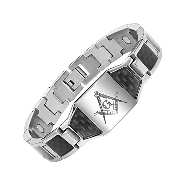 MasonicMan-Mens-Titanium-Magnetic-Bracelet-with-Masonic-Logo-and-Black-Carbon-Fiber-Adjustable