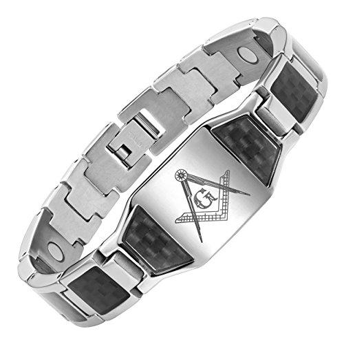 MasonicMan Men's Titanium Magnetic Bracelet with Masonic Logo and Black Carbon Fiber Adjustable (Bracelet Logo Mens)