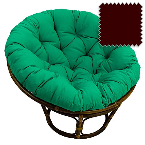 (42-Inch Bali Rattan Papasan Chair with Cushion - Solid Twill Fabric, Burgundy - DCG Stores Exclusive)