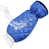 cyrico Ice Scraper Mitt for Car Windshield - Waterproof Snow Ice Scraper Gloves with Thick Fleece Lining and Durable Handle for Extra Warmth and Protection - Blue(1 Pack)
