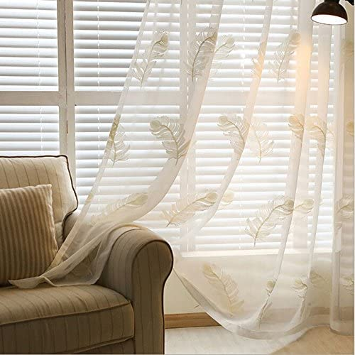 pureaqu Embroidery Feather Design Rod Pocket Sheers Curtains