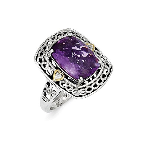 (925 Sterling Silver 14k Diamond Purple Amethyst Band Ring Size 7.00 Stone Gemstone Fine Jewelry Gifts For Women For Her)