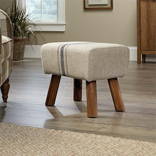Pemberly Row Accent Stool in Beige Linen by Pemberly Row