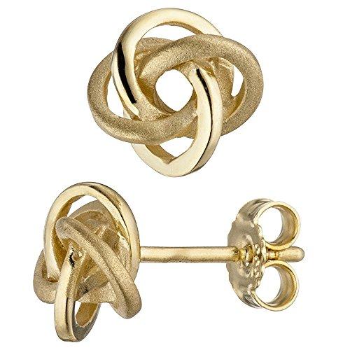 Fiche Paire de boucles d'oreilles en or jaune 333Mat brillant nœuds engloutis