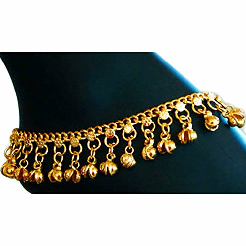 Indian Traditional Belly Dance Ghungroo Brass Anklet with Jingling Bells Gold-Toned - Costumes Indian Jewelry