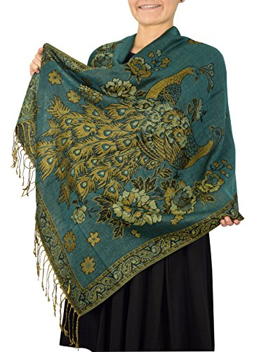 Peacock Shawl Scarf - Peach Couture Floral Peacock Reversible Shimmer Layered Pashmina Wrap Shawl Scarf Teal