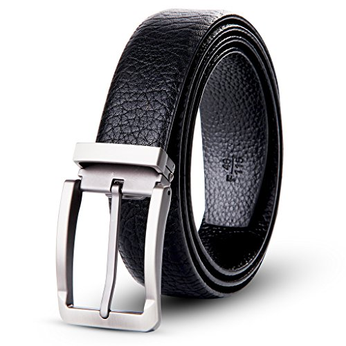 XIANGUO Men's Top Grain Leather Black Belt - Classic & Fashion Designs with Zinc Alloy Buckle