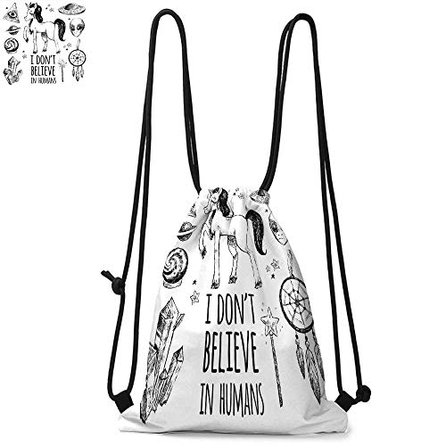 (Unicorn Drawstring backpack series Mysticism Occult Featured Set with Pyramids Aliens Dream Catcher Grunge Print Artwork Convenient choice for daily activities W13.8 x L17.7 Inch Black)