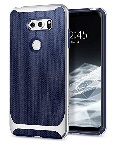 Spigen Neo Hybrid LG V30 Case / V30S / V30 Plus Case Herringbone with Flexible Inner Protection and Reinforced Hard Bumper Frame for LG V30 (2017) - Satin Silver