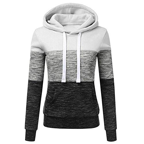 - Sunhusing Women's Three-Color Stitching Long-Sleeve Drawstring Pullover Blouse Casual Hooded Sweatshirt Tops