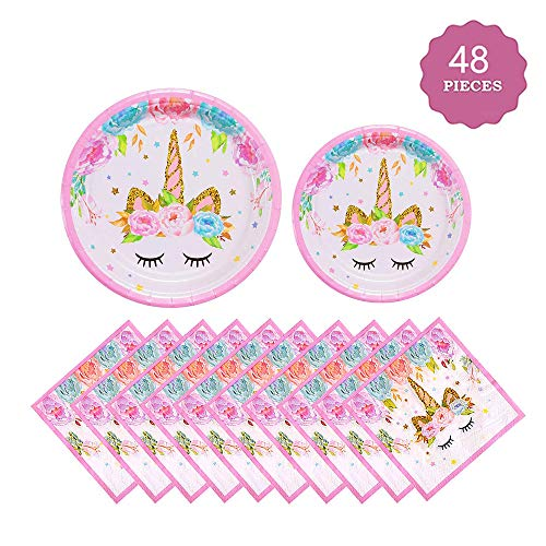 Vincrey Unicorn Party Supplies Set, Unicorn Plates and Napkins | Magical Unicorn Birthday Party Decorations For Birthday Party Baby Showers,Serves 16