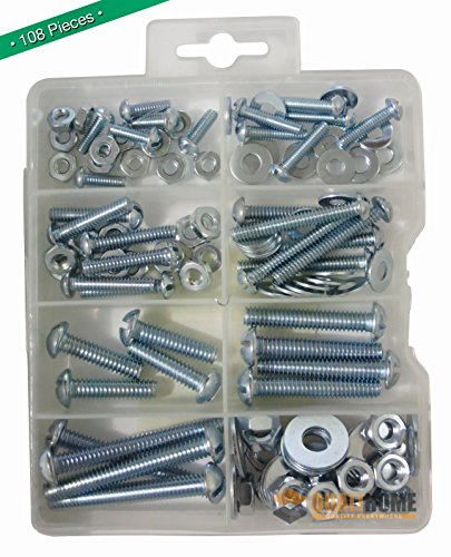 - Bolts, Nuts, and Washer Assortment Kit, 108 Pieces