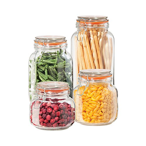 OGGI Set of 4 Airtight Glass Canisters with Clamp Lids & Silicone Gaskets (Set of 4 ASSORTED)