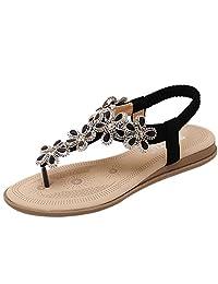 D2C Beauty Women's Bohemian Rhinestone Slingback Thong Sandals