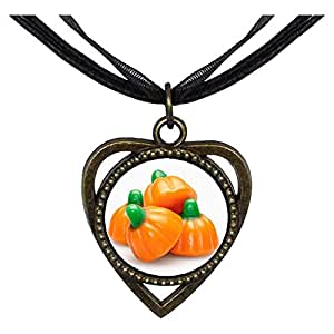 Chicforest Bronze Retro Style four Halloween pumpkin candy Heart Shaped Pendant