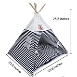 7Life Small Cat Dog Pet Portable Teepee House Tent Bed Blue /Red Stripe House with Bed Mat Breathable / Washable (blue)