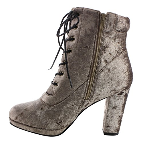 Women's EK57 Nature Zipper Platform Side Lace Booties Heel Block Breeze up Taupe Ankle 5qwqrREY
