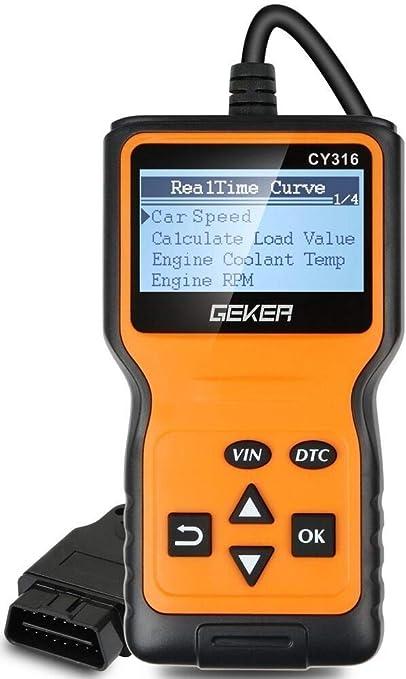 Geker Obd2 Diagnosegerät Auto Diagnosewerkzeuge Universal Handscanner Obdii Code Scanner Fahrzeug Fehlercodeleser Fehlerauslesegerät Auto