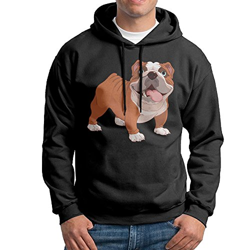 CSECGAR Cute Pet Dog Men's Pullover Hooded Sweatshirt M Black