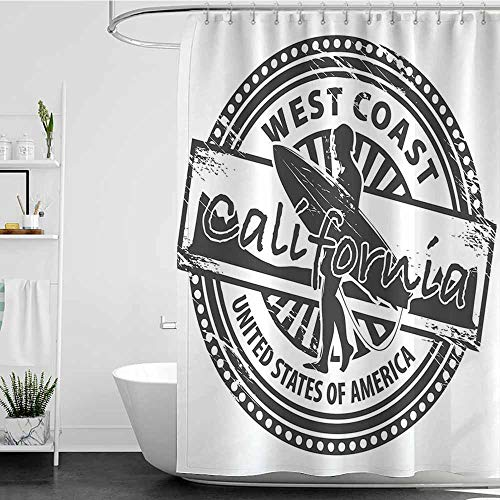 Tim1Beve Hotel Style Shower Curtain,Ride The Wave West Coast California United States of America Grunge Vintage Stamp Print,goof Proof Shower,W47x63L Grey White