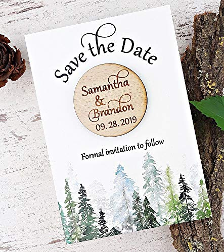 Wedding Save The Date, Wodden Wedding Save The Date Magnet, Forest Save The Date Card, Destination Wedding Save The Date Set of 20 -