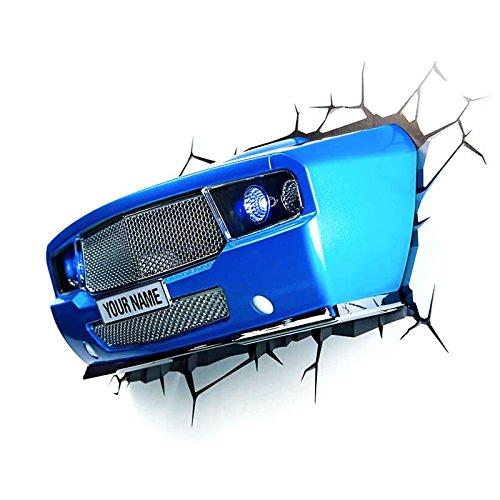 OZSHOP 3D Deco Blue Sports Car Light Personalize Led Night Light Wall Decor Hot