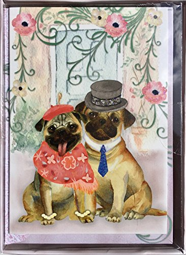 Punch Studio Window Boxed Set of 12 Glitter Embellished Blank Note Cards - Pug Couple -