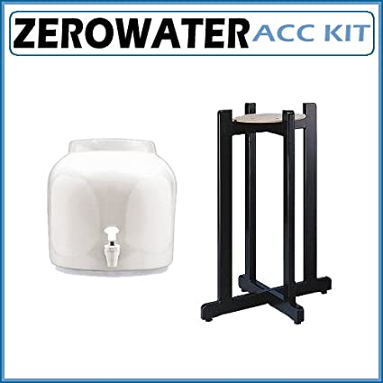 Dispensador de agua de cerámica para chucrut – Classic blanco de madera negro con soporte de
