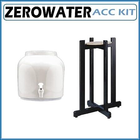 Dispensador de agua de cerámica para chucrut - Classic blanco de madera negro con soporte de suelo: Amazon.es: Bricolaje y herramientas