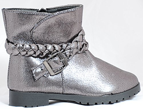 Metallic Girls Stivaletti Alla Caviglia Con Cinturino Intrecciato Da Combattimento Anklet Boots Argento