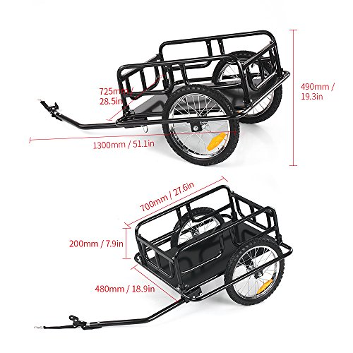 IKAYAA Folding Bike Cargo Trailer Hand Wagon Bicycle Luggage Trailer Storage Cart Carrier with Detachable Metal Frame Hitch by IKAYAA (Image #7)