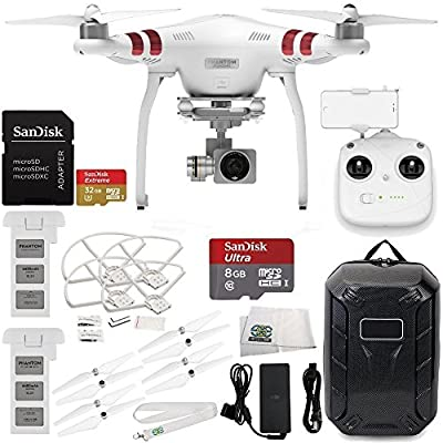 DJI Phantom 3 Standard with 2.7K Camera and 3-Axis Gimbal & Manufacturer Accessories + Extra DJI Battery + Water-Resistant Hardshell Backpack + MORE from DJI