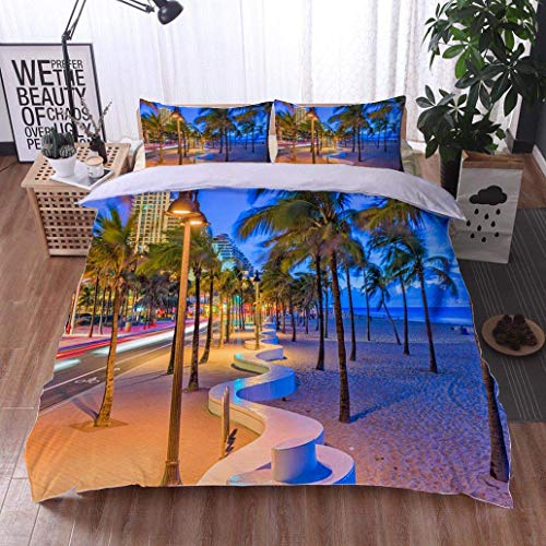 Home 3 Piece Print Quilt Set,Fort Lauderdale Beach Florida,Soft,Breathable,Hypoallergenic,Patterned Technique King Quilt Set