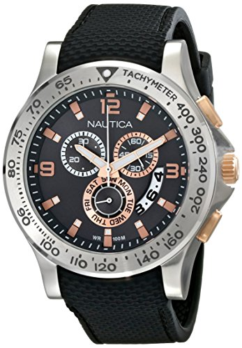 Nautica Men's NAD19504G NST 600 Chrono Analog Display Japanese Quartz Black Watch