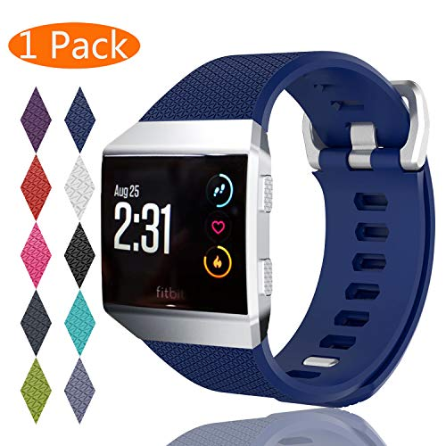 KingAcc Compatible Replacement Bands for Fitbit Ionic, Soft Silicone Fitbit Ionic Band with Metal Buckle Fitness Wristband Strap Women Men (1-Pack, Dark Blue, Small)