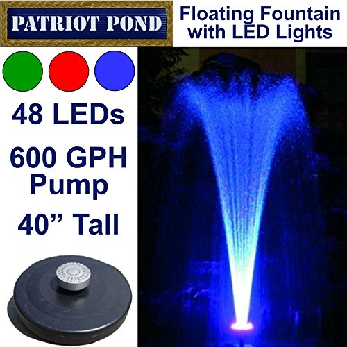 Small Color Changing Floating Fountain with LED Lights - Red, Green, Blue, 600GPH Pump