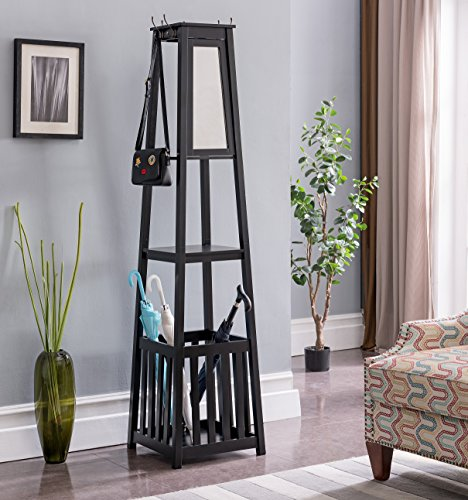 Kings Brand Furniture - Entryway Hall Tree Coat Rack Stand with Storage Shelf, Umbrella Holder & Mirror (Black)
