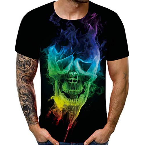 (YOMXL Classic Skull Symbol Graphic T-Shirt Funny 3D Printed Cool Graphic Short Sleeve Tee Tops for Men Black)