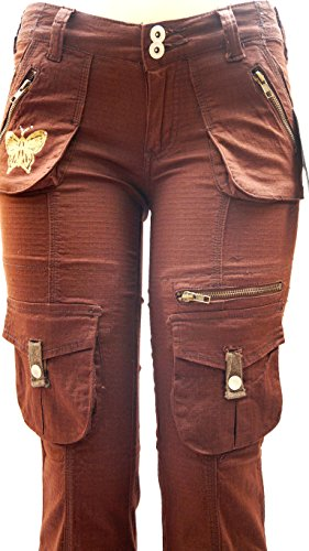Blue Pointe Juniors Womens Stretch Premium Brown Cargo Pants 3054ES (9/10) by JEANS FOR LOVE (Image #1)