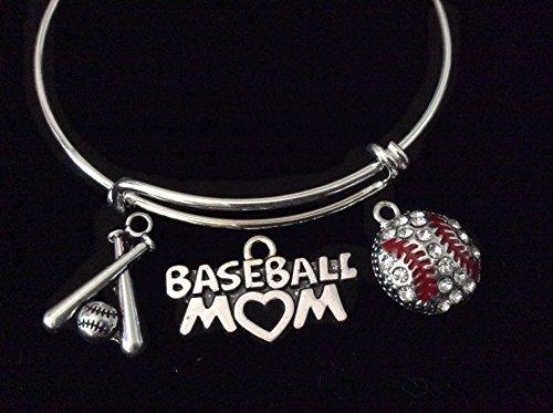 Crystal Baseball Mom 3D Ball and Bats Silver Expandable Charm Bracelet Adjustable Bangle Sports Team Gift ()