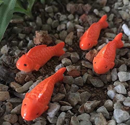 Aidou Home Life Charms Supplies, 5Pcs Miniature Resin Model Fish Toy for Bonsai Landscape Decor (Color : White)